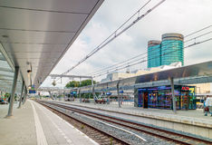 Utrecht central train station with the Dutch international Rabob Royalty Free Stock Image