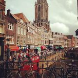 Utrecht. City,  bicycles, market Street Royalty Free Stock Photography