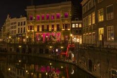 Utrecht en Night Winkel van Sinkel Fotografía de archivo libre de regalías