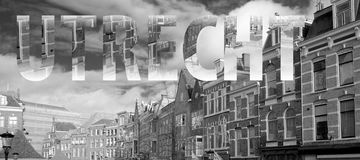 Utrecht lettering in black and white stock photography