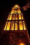 UTRECHT, NEDERLAND - OKTOBER 18: Oude Europese kerk met nachtverlichting Utrecht - Holland Stock Afbeelding