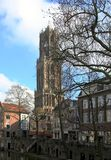 The Dom Tower and canal in the historic center of Utrecht. stock photos