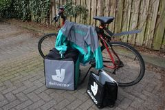 Utrecht, the Netherlands, February 19, 2019: deliveroo gear, freelancer ready to start royalty free stock photo