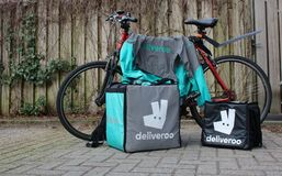 Utrecht, the Netherlands, February 19, 2019: Deliveroo gear, ready to go out royalty free stock photos