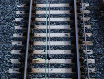 Utrecht, the Netherlands, February 15, 2019: top view of a white railroad tracks royalty free stock image