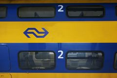 Utrecht, the Netherlands, March 8, 2019: close up of wagon from a yellow train called intercity of the NS royalty free stock photos