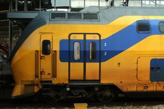 Utrecht, the Netherlands, March 8, 2019: Intercity, a yellow train, the first wagon and train. Utrecht, the Netherlands, March 8, 2019: Intercity, a yellow train stock photo