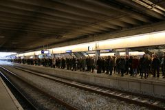 Utrecht, the Netherlands, March 8, 2019: A long queue of people that are waiting to depart with a train from the NS stock photos