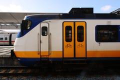 Utrecht, the Netherlands, March 8, 2019: White train or sprinter from the NS also called nederlandse spoorwegen royalty free stock photo