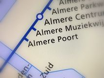 Dutch Railway Station Almere Poort on a map stock photos