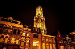 UTRECHT, NETHERLANDS - OCTOBER 18: Ancient European church with night-time lighting. Utrecht - Holland Stock Images