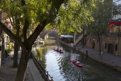 Utrecht, Netherlands - September 27, 2018: Canoeing on the canal stock image