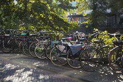 Utrecht, Netherlands - September 27, 2018: Row of bicycles near stock photos