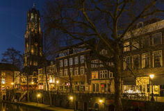 Utrecht at Night Dom Royalty Free Stock Photo