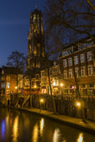 Utrecht at Night Gaardbrug and Church Stock Image