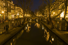 Utrecht at Night Oude Gracht Stock Image