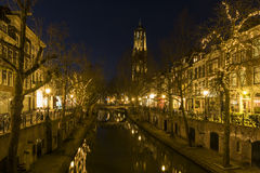 Utrecht at Night Oude Gracht and Church (Dom) Royalty Free Stock Image