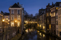 Utrecht på natten Lichte Gaard Royaltyfri Foto