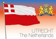 Utrecht regional flagga, Nederländerna, europeisk union royaltyfri illustrationer