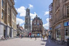 Utrecht streets and Dom tower stock photography