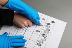 Utredare som tar fingeravtryck av misstänkten på tabellen, closeup arkivbilder