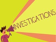 Utredningar för handskrifttexthandstil Begrepp som betyder den formella handlingen eller den systematiska undersökningen om något royaltyfri bild