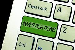 Utredningar för textteckenvisning Begreppsmässigt foto den formella handlingen eller den systematiska undersökningen om något arkivfoton