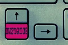 Utredningar för textteckenvisning Begreppsmässigt foto den formella handlingen eller den systematiska undersökningen om något royaltyfri foto