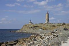 Utrish island. Near Anapa, Krasnodar region. These buildings are the memorial lighthouse dedicated to the exploit of the crew of Jan Fabritsius transport ship Royalty Free Stock Photos