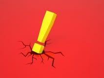 Utropsteckenet orsakar en spricka på röd yttersida Arkivfoton