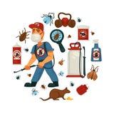 Utrotning eller mall för affisch för information om företag för plågakontrollservice för sanitär inhemsk desinficering stock illustrationer