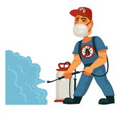 Utrotning eller mall för affisch för plågakontrollservice av sanitär inhemsk desinficering stock illustrationer
