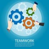 Utrustar teamworkbegreppet, vektor för utrymme för kopia för handinnehavkugghjul royaltyfri illustrationer
