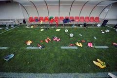 Utrustning efter en fotbollfotbollsmatch Fotografering för Bildbyråer