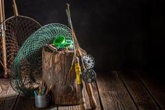 Utrustning för att fiska med stänger och att fiska flyger Royaltyfria Foton