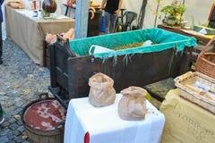 Utrustning för druvan som bearbetar på mässan i Spilamberto, Italien Royaltyfri Fotografi