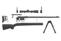 Utrustning för gevärprickskyttsvart, sidosikt Arkivbilder