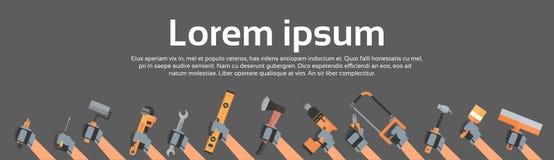 Utrustning för reparation och för konstruktion för hållande hjälpmedel för händer funktionsduglig över kopieringsutrymme stock illustrationer