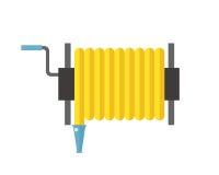 Utrustning för vatten för slang för gata för förhindrande för tryck för metall för illustration för vektor för rulle för brandsla vektor illustrationer