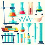Utrustning för vektortecknad filmlaboratorium, glasföremåluppsättning vektor illustrationer