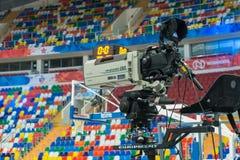 Utrustning för video skytte av en sportmatch Arkivfoto