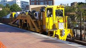 Utrustning för WMATA-spårreparation på den Rockville stationen Royaltyfri Bild