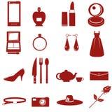 utrustning och tillbehör för damdiagram Royaltyfri Illustrationer