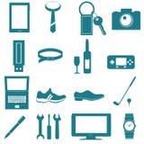 utrustning och tillbehör för grafiska män Royaltyfri Illustrationer
