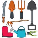 utrustning som arbeta i trädgården utomhus- sommararbete Arkivbild