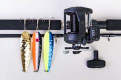 Utrustning som är klar för laxfiske Arkivbilder