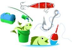 utrustningfiske royaltyfri illustrationer