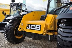 Utrustningmedel och logo för JCB tungt Arkivfoton