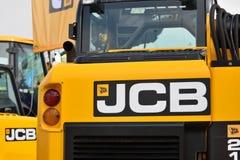Utrustningmedel och logo för JCB tungt Fotografering för Bildbyråer