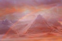 Utrymme exoplanet Fantastiskt berglandskap med en regnbåge Royaltyfri Fotografi